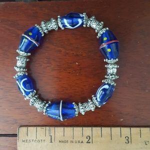 Jewelry - Blue & Silver Metal Bead Stretch Bracelet - (B9)